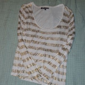 Jennifer Lopez gold stripped top Size L